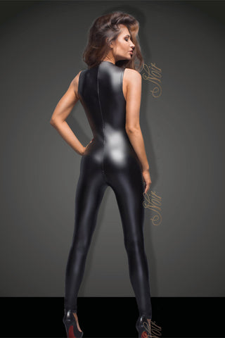 Noir Handmade Catsuit Sleeveless Powerwetlook Catsuit with lace F166 by Noir Handmade B#tch Collection