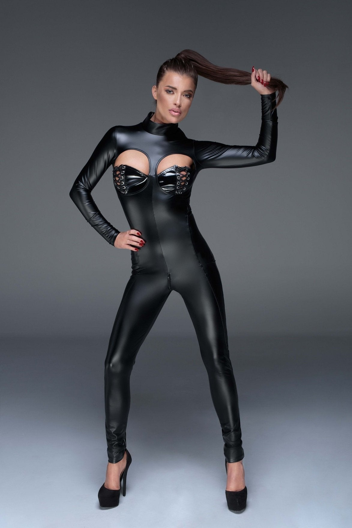 Noir Handmade Catsuit UK 8 / Black Power Wet Look Catsuit F149 by Noir Handmade