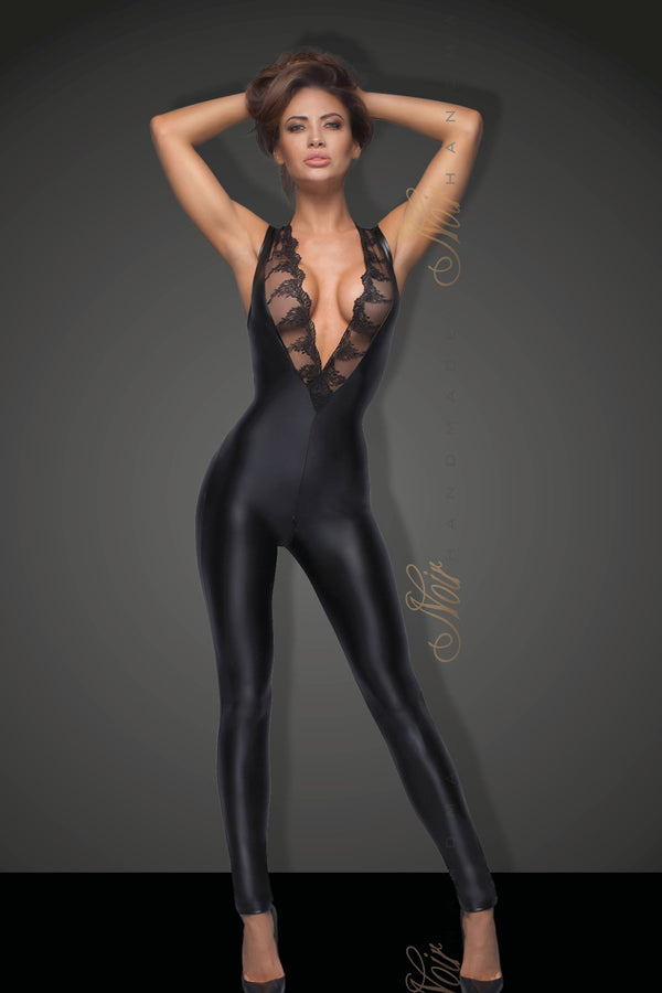 Noir Handmade Catsuit UK 8 / Black Sleeveless Powerwetlook Catsuit with lace F166 by Noir Handmade B#tch Collection