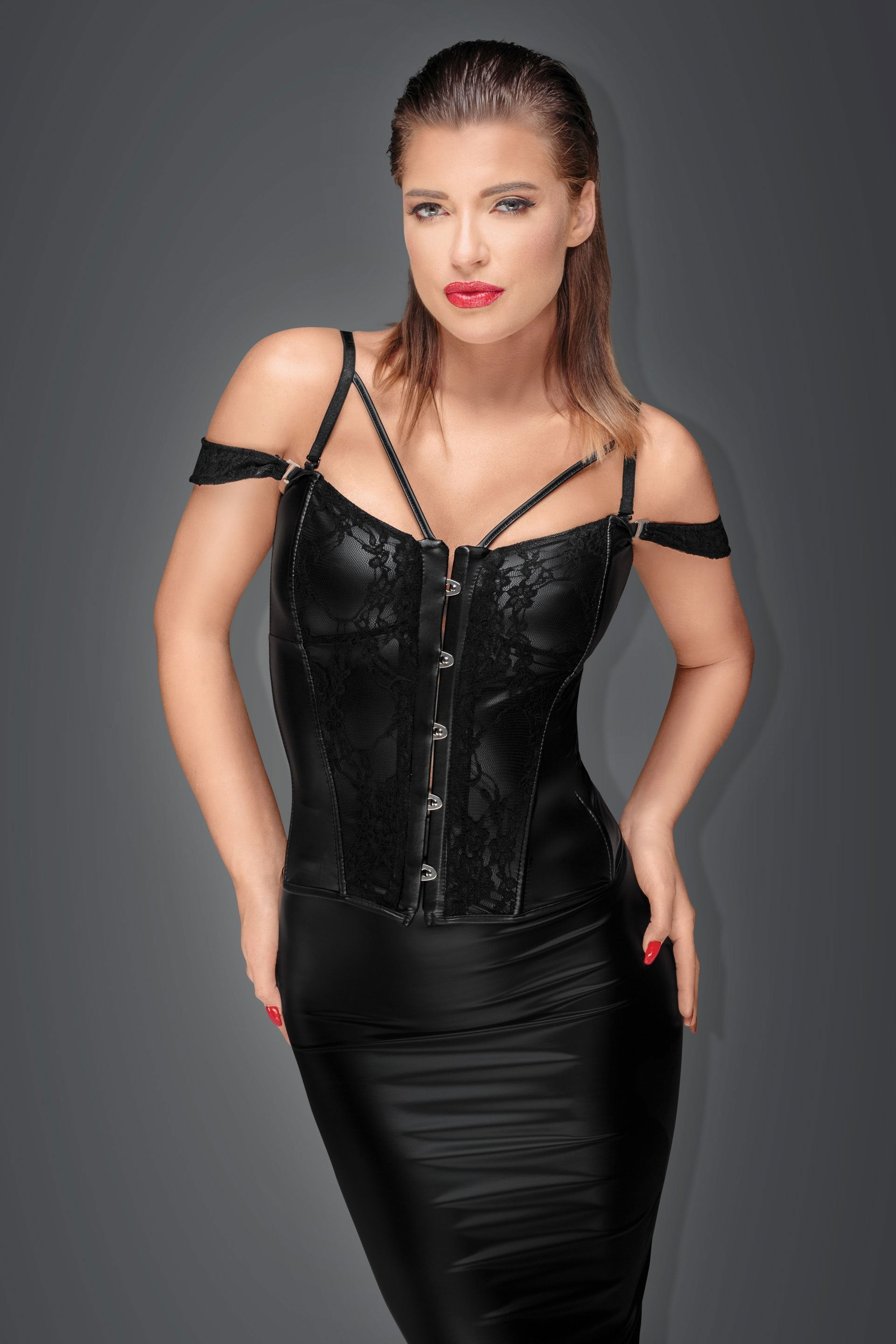 Noir Handmade corset UK 8 / Black Power Wetlook Corset F159 by Noir Handmade