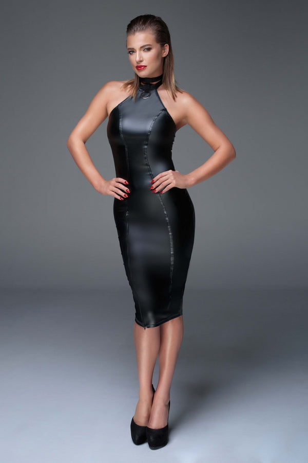 Noir Handmade Dress Power Wetlook Pencil Dress F160 by Noir Handmade