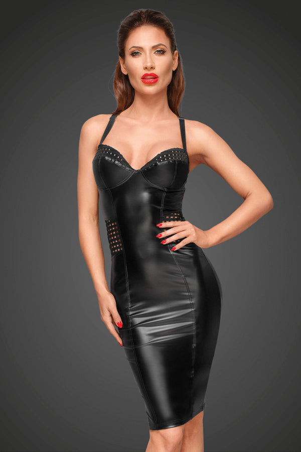 Noir Handmade Dress UK 8 / Black Black Powerwetlook Dress
