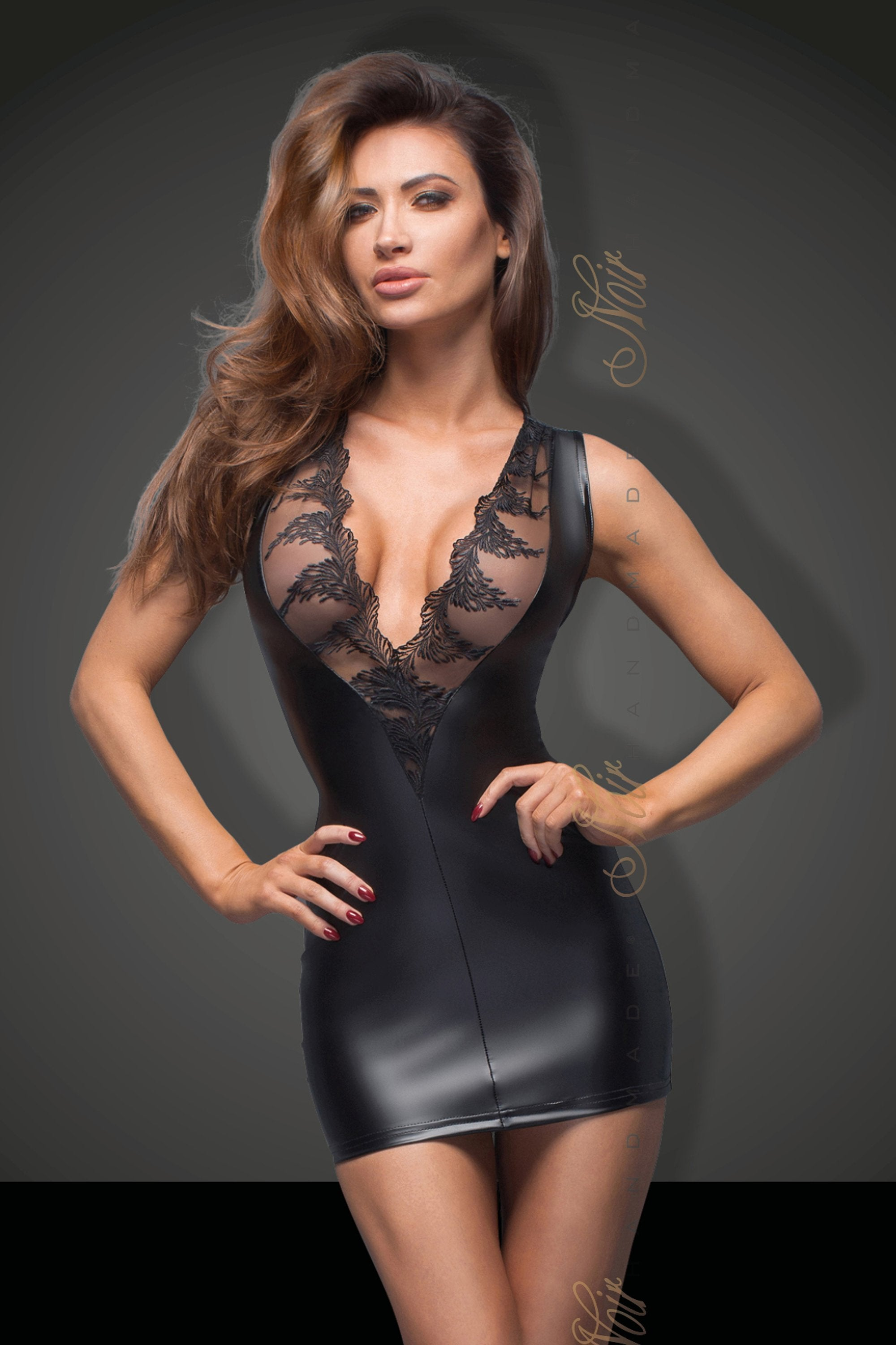 Noir Handmade Dress UK 8 / Black Black Powerwetlook Minidress With Lace Cleavage F168