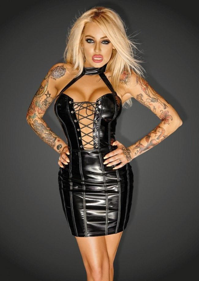PVC Mini Dress F141 Noir Handmade Diva Collection - Divas Closet