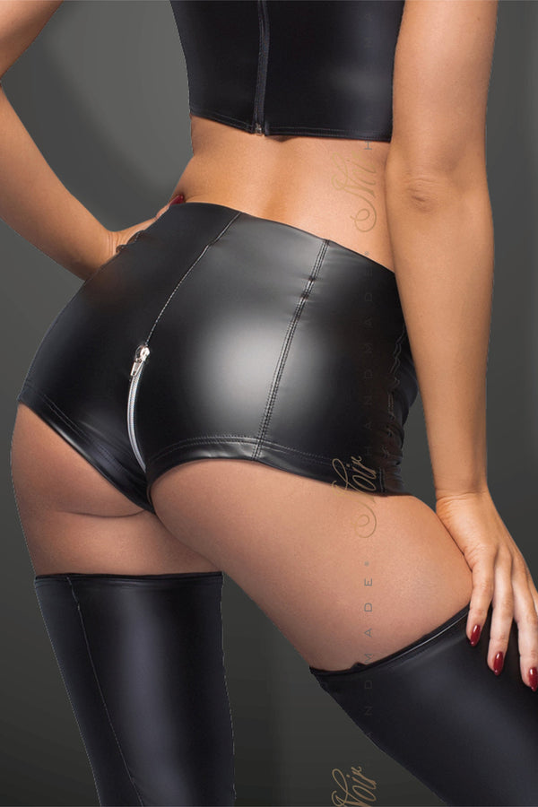 Noir Handmade Shorts High Waist Powerwetlook Shorts With Zipper F164