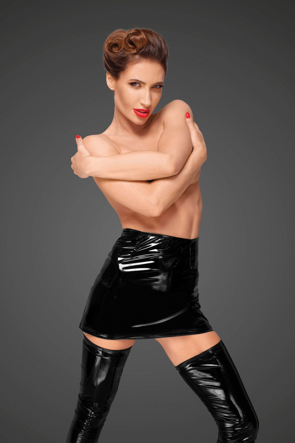 Noir Handmade Womens PVC Clothing UK 8 / Black F189 Black PVC Mini Skirt
