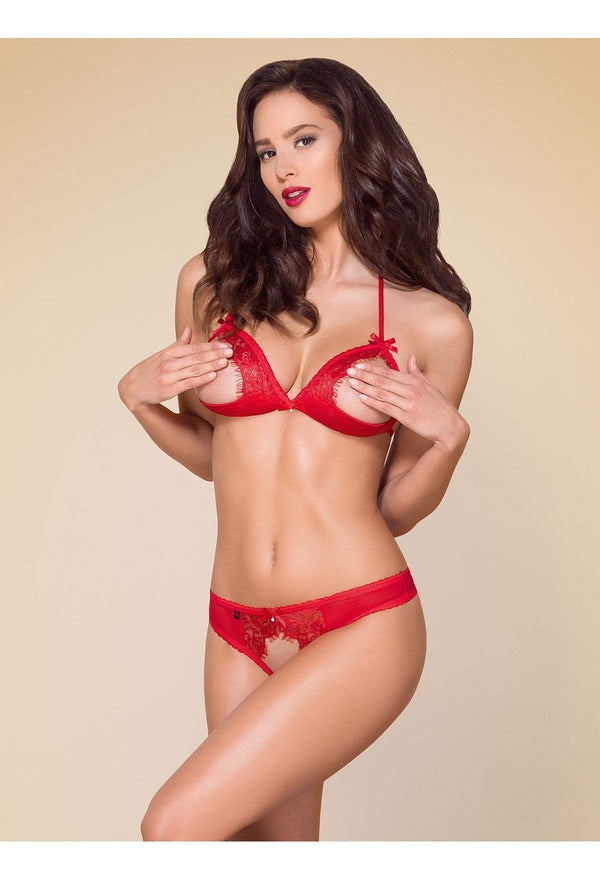 obsessive obsessive lingerie set UK 8-12 / Red Erotic Open Cup Lingerie Set