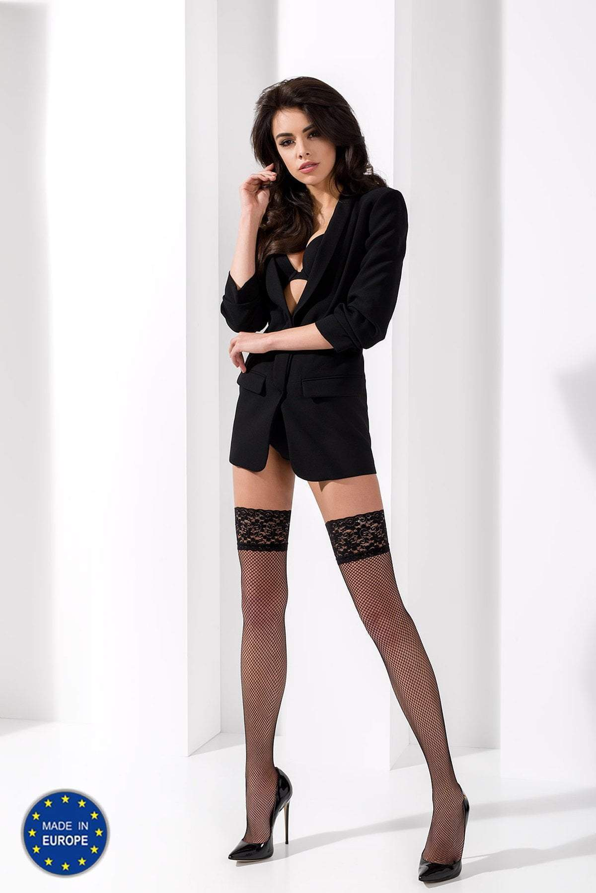 Passion passion Hold Ups S/M / Black Fishnet Hold Ups ST020