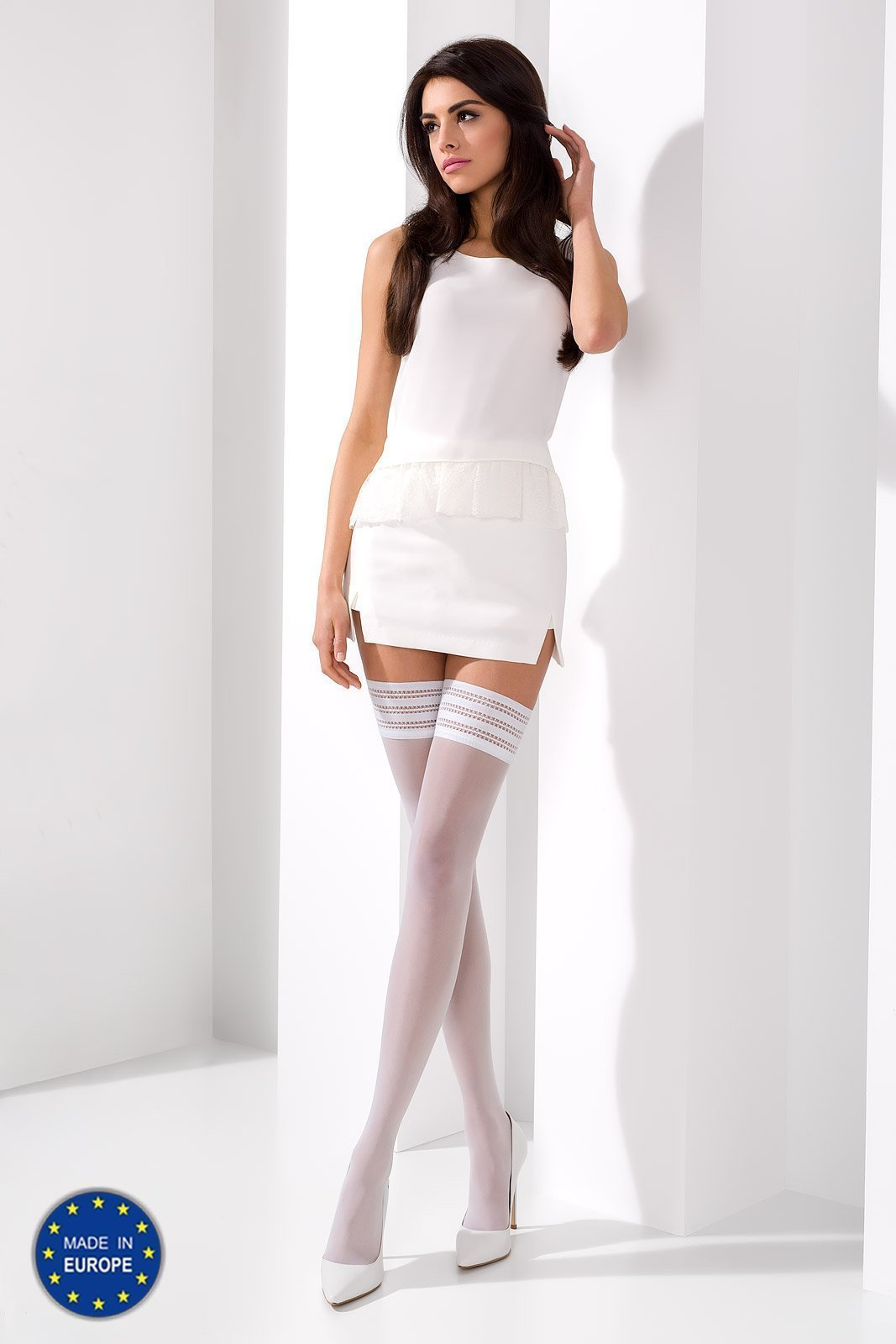 Passion Stockings 1/2 White Thigh High Stockings