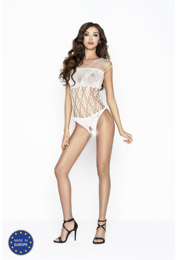 White Crotchless Fishnet Bodysuit