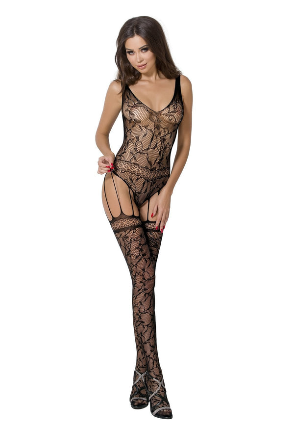 Floral Patterned Crotchless Bodystocking