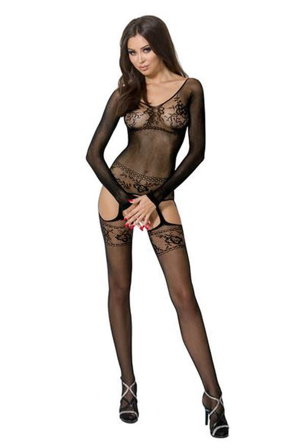 Black Crotchless Suspender Bodystocking BS055
