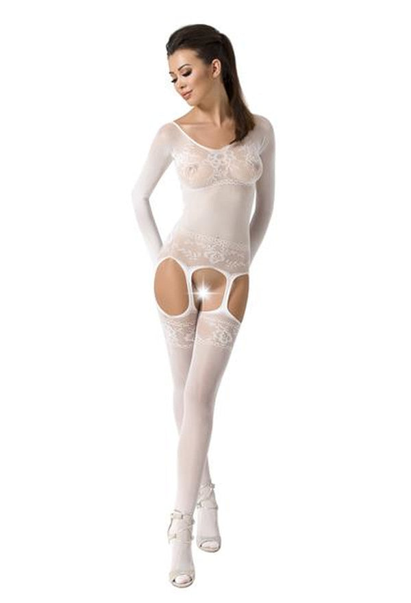 White Crotchless Suspender Bodystocking BS055