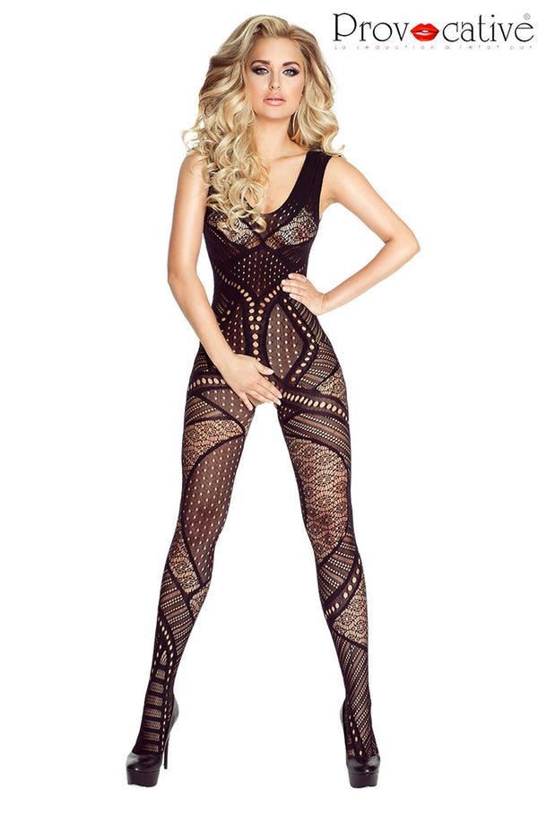 Crotchless Black Lace Bodystocking - Provocative Style PR4692