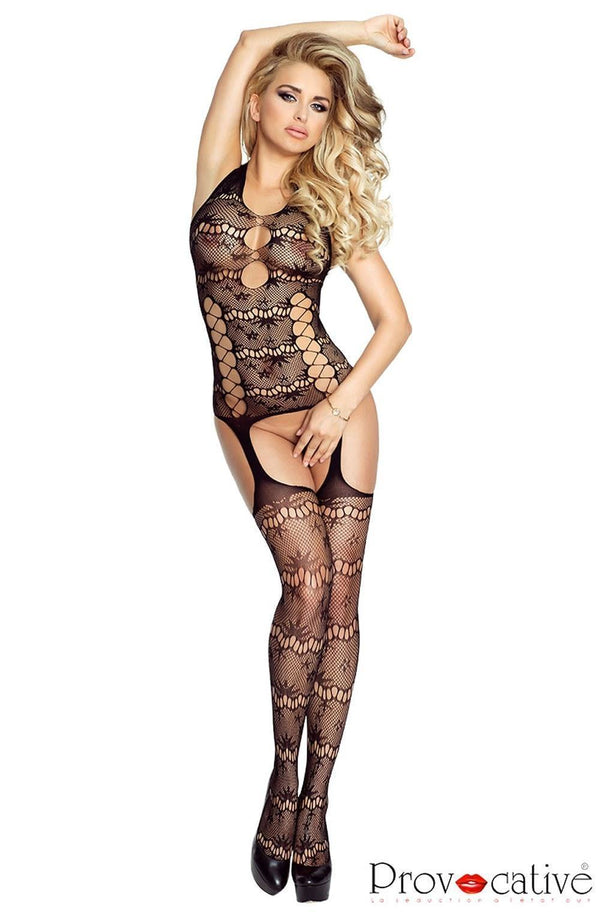 Provocative Open Black Bodystocking - Divas Closet