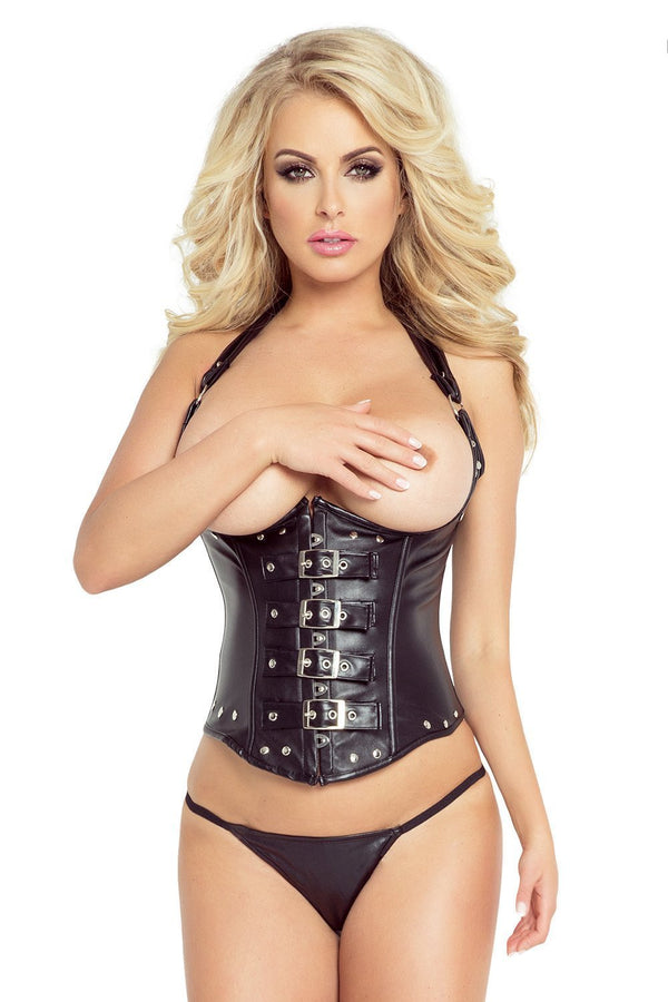 provocative Corset UK 6-10 Black Leather Imitation Corset