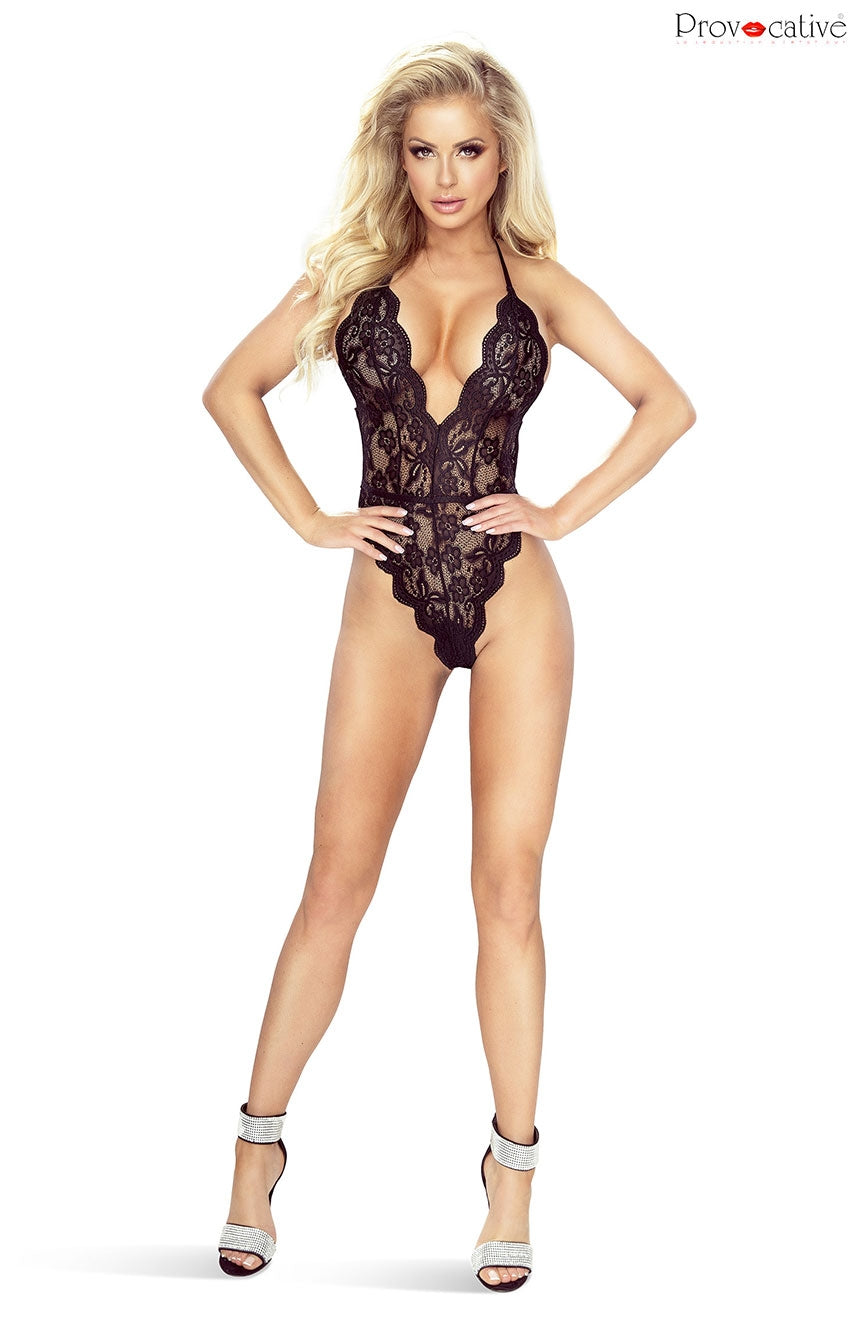 Plunge Front Black Lace Bodysuit - Provocative Evasion
