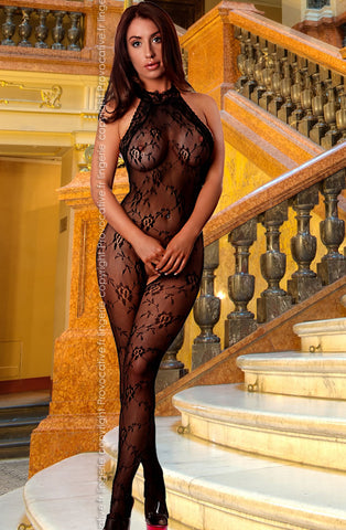 Halterneck Crotchless Low Cut Back Black Bodystocking - Provocative