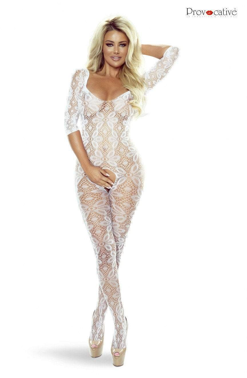 provocative Provocative Bodystocking UK 6-12 / White White Crotchless Floral Lace Bodystocking