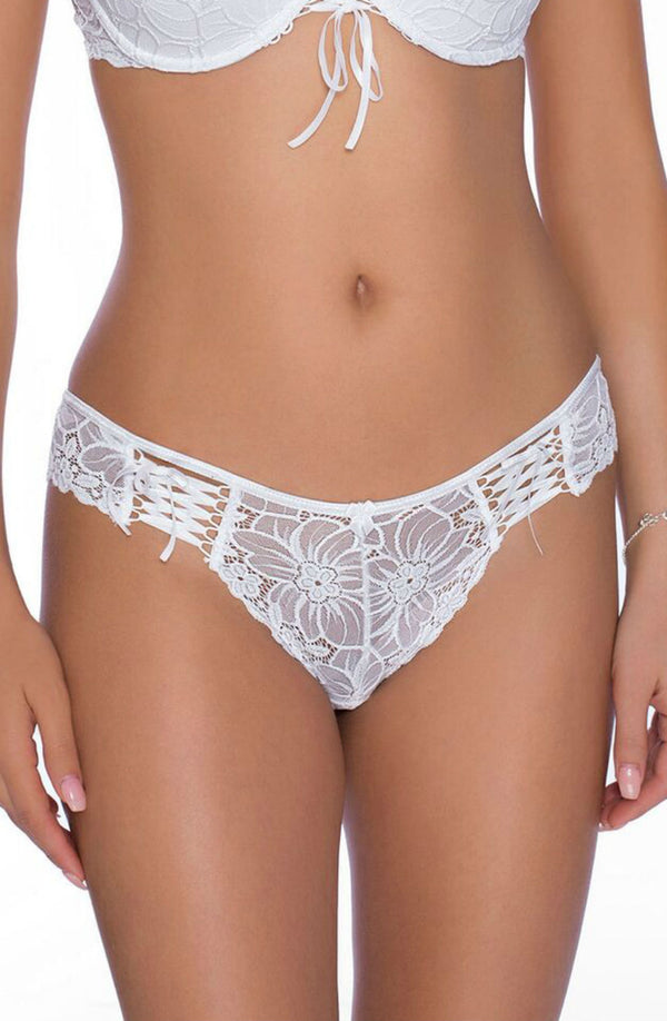Roza Damaris White Floral Lace Brief Front