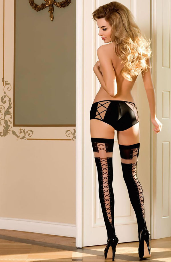 Roza Efi Black Patterned Hold Ups
