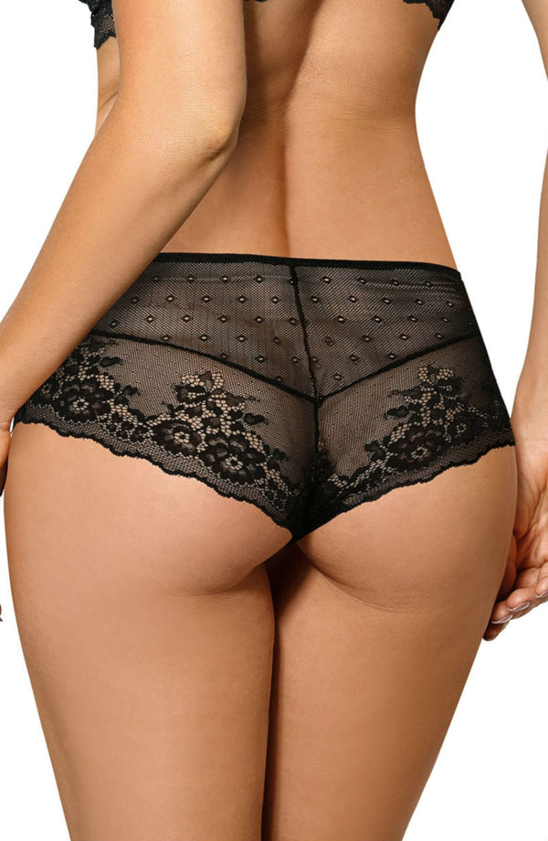 Roza Lingerie Kena Black Floral Lace Brief Back