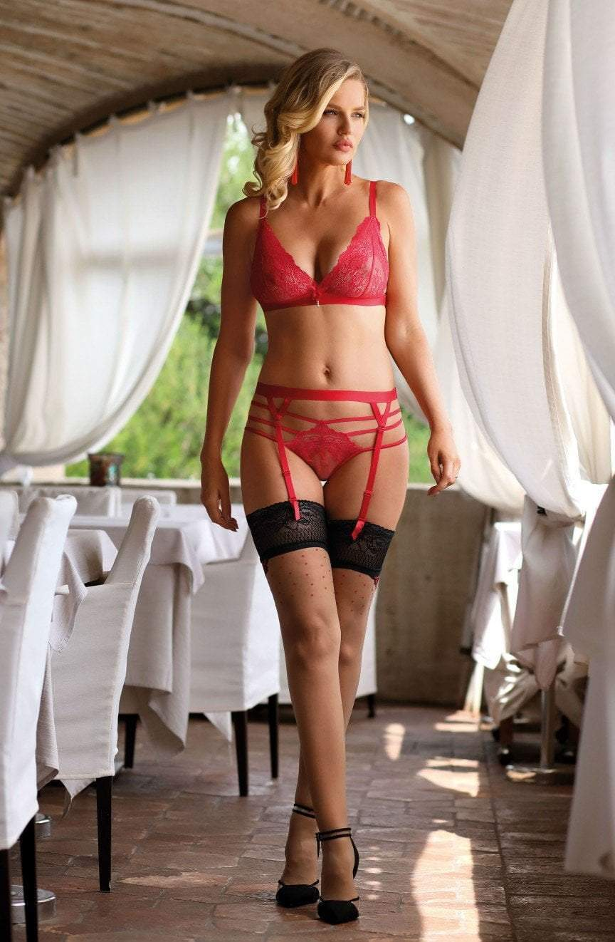 Roza Roza Suspender Belt Cyria Red Suspender Belt