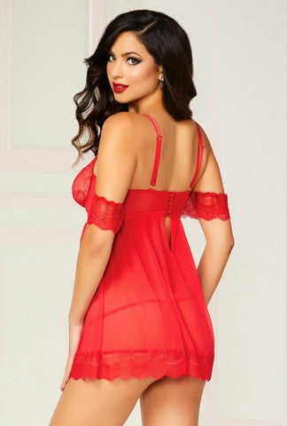seven til midnight Babydoll Red Cold Shoulder Babydoll & Panty Set 10829