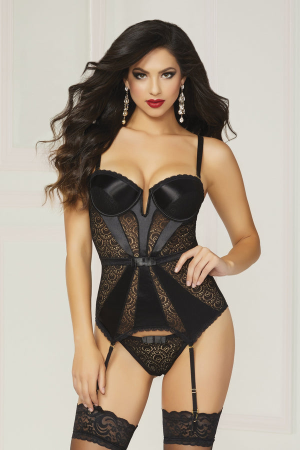 seven til midnight Bustier UK 6-8 / Black Pleasure Principle Bustier Set - Black