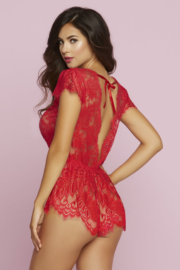 seven til midnight ROMPER SUIT Red Eyelash Lace Romper with Plunging Neckline