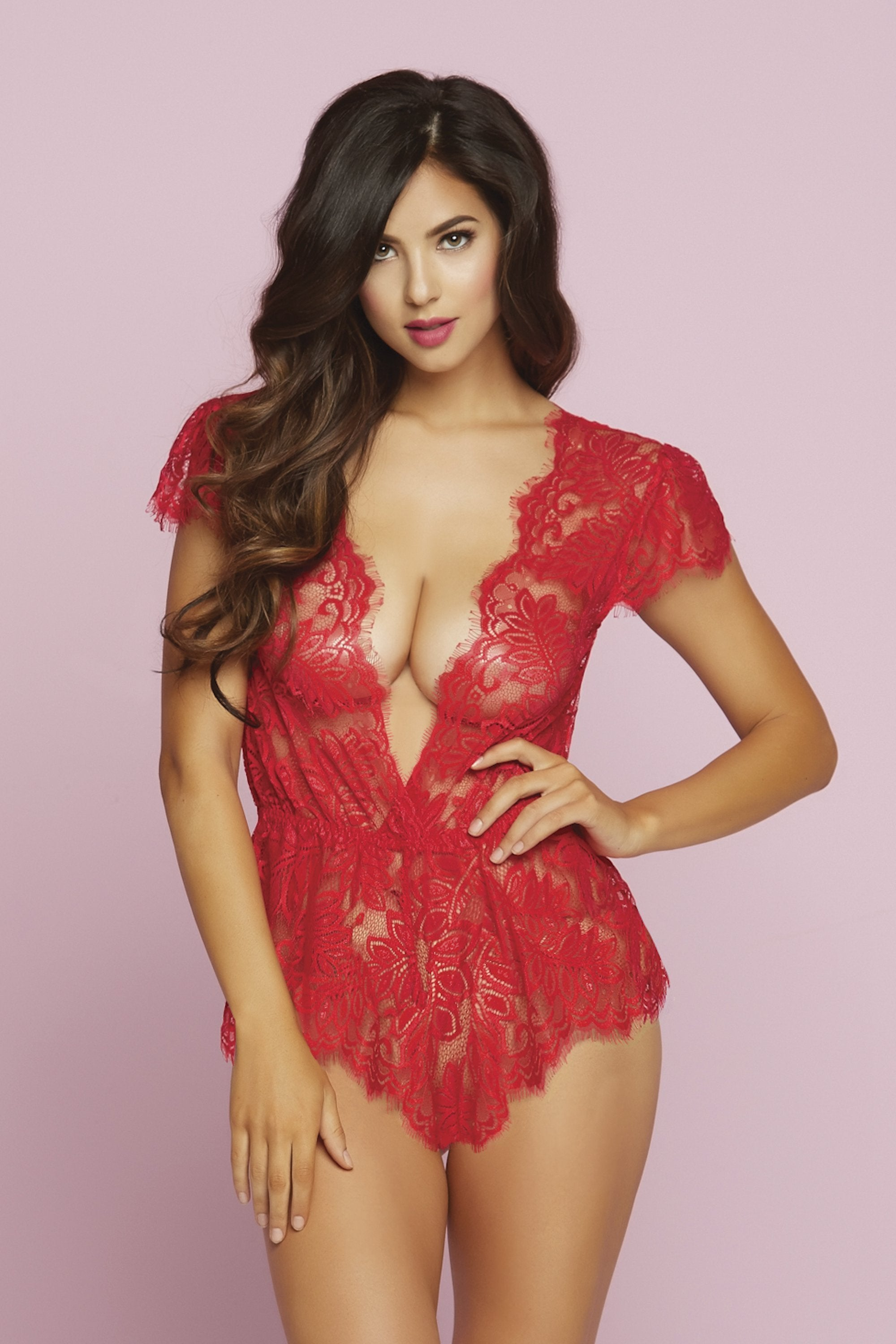 seven til midnight ROMPER SUIT UK 6-8 / Red Red Eyelash Lace Romper with Plunging Neckline