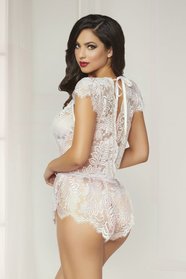seven til midnight ROMPER SUIT White Eyelash Lace Romper with Plunging Neckline