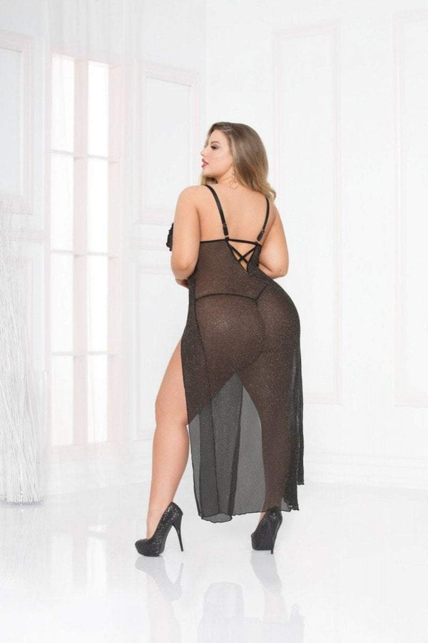 seven til midnight Seven til Midnight Chemise All That Glitters Gown Set Black Plus Size
