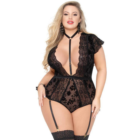 seven til midnight Seven til Midnight Teddy UK 18-20 / Black Simply Gorgeous Black Teddy Plus Size
