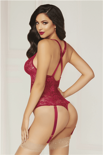 seven til midnight Seven til Midnight Teddy Wine Lace Suspender Teddy