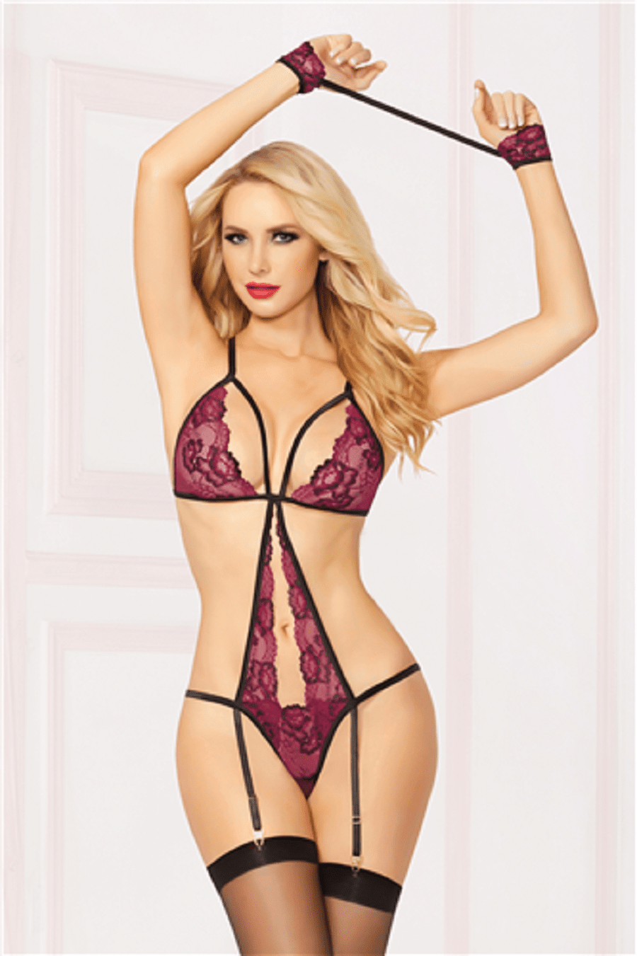seven til midnight Teddy One Size UK 6-16 Cross Dye Lace Teddy