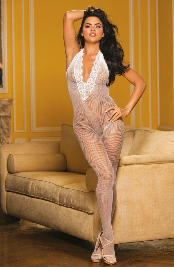 Shirley of Hollywood Bodystocking One Size UK 8-14 / White Fishnet & Eyelash Lace White Bodystocking