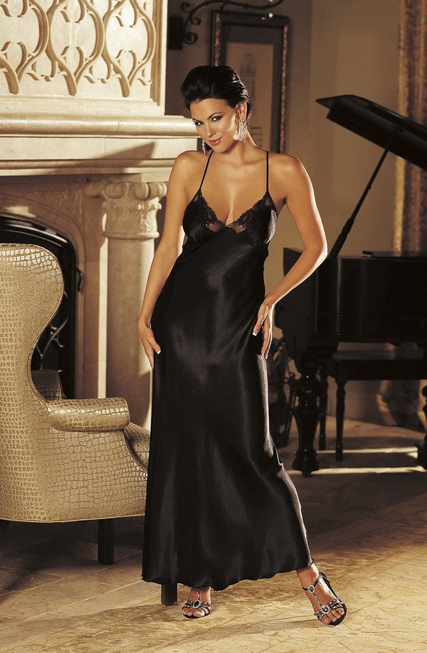 Shirley of Hollywood Nightdress UK 8-10 / Black SOH 20300 Cassie Long Gown Black