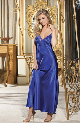 Shirley of Hollywood Nightdress UK 8-10 / Blue SOH 20300 Cassie Long Gown Blue