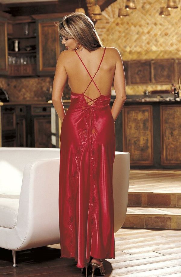 Shirley of Hollywood Nightdress UK 8-10 / Red SOH 20300 Cassie Long Gown Red