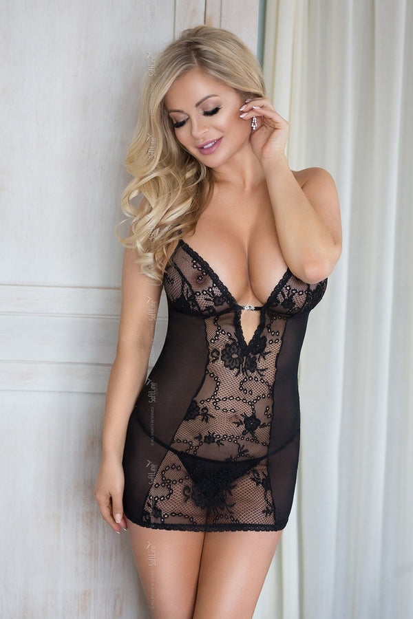 softline Chemise UK 8-12 / Black Black Chemise Romantic Collection