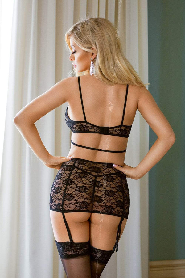 Softline Black Lace Lingerie Set back
