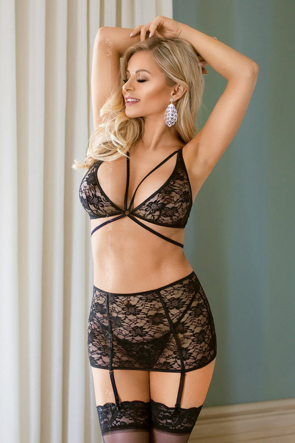 Softline Black Lace Lingerie Set