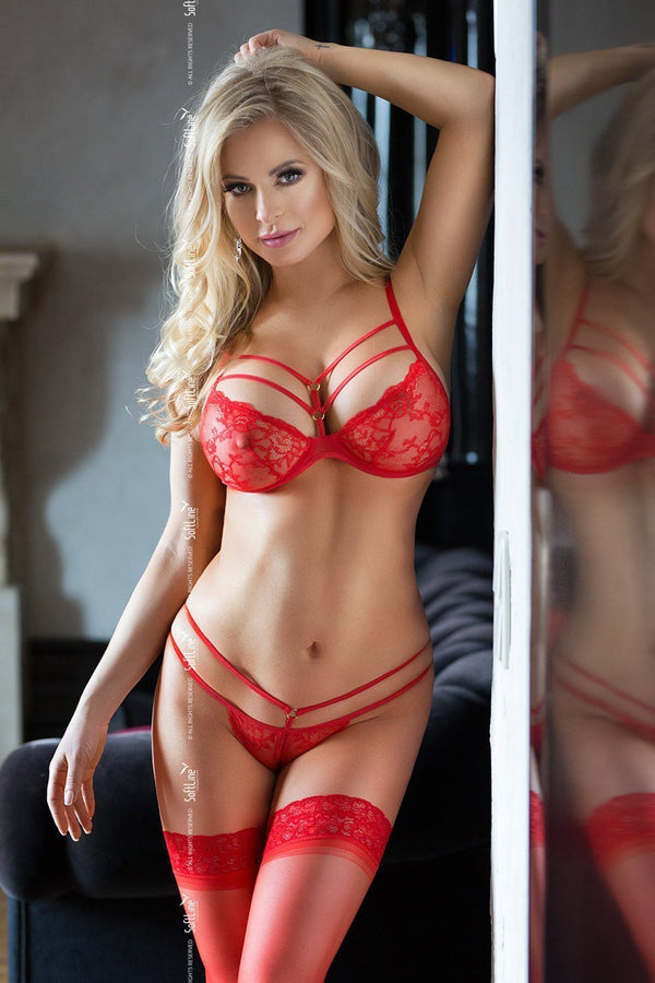 softline softline lingerie set UK 6-8 / Red Red Lace Bra Set