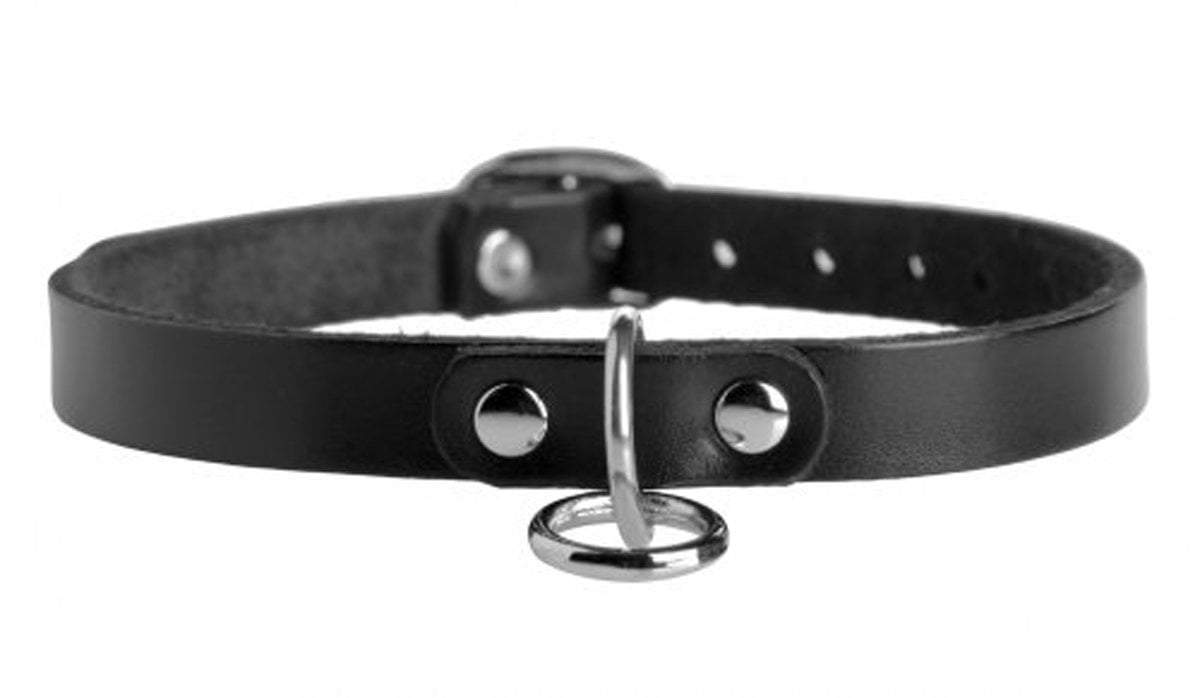 Strict Leather collar Unisex Leather Choker with O-Ring