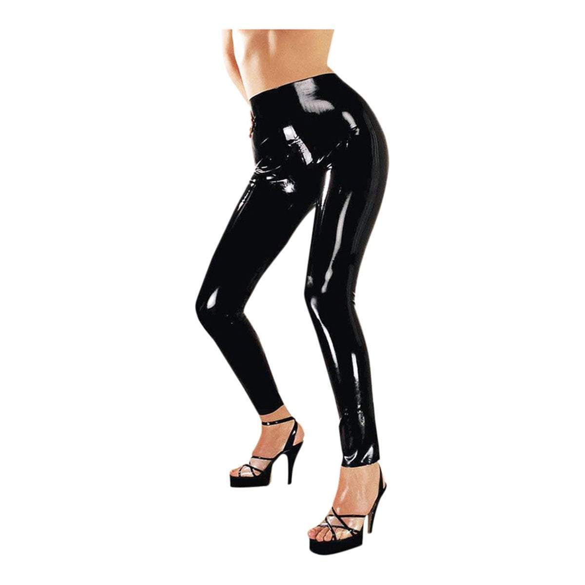 The Latex Collection Latex Clothing Black Latex Leggings With Zip