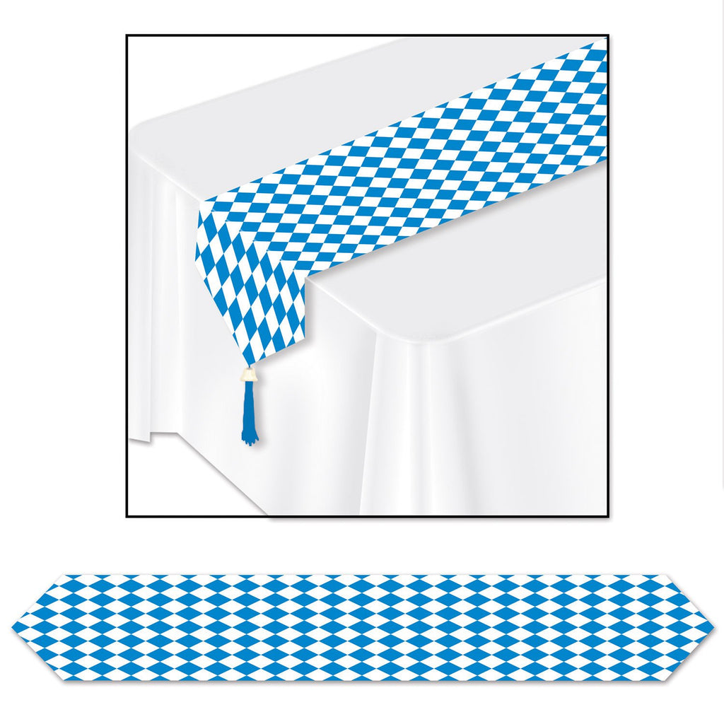 Printed Blue and White Oktoberfest Table Runner 11 inches x 6' - Oktoberfest, PS- Oktoberfest Decorations, PS- Oktoberfest Essentials-All OKT Items, PS- Oktoberfest Table Decor, Tableware - 2