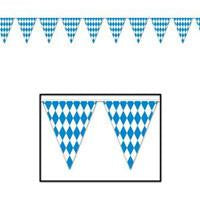Oktoberfest Bavarian Plastic Flag Pennant Banner 12 Feet - Banners, Bavarian Blue White Checkers, Bayern, German, Germany, Hanging Decorations, Oktoberfest, PS- Oktoberfest Decorations, PS- Oktoberfest Essentials-All OKT Items, PS- Oktoberfest Hanging Decor, PS- Oktoberfest Table Decor, PS-Party Supplies, Tableware, Top-OFST-A