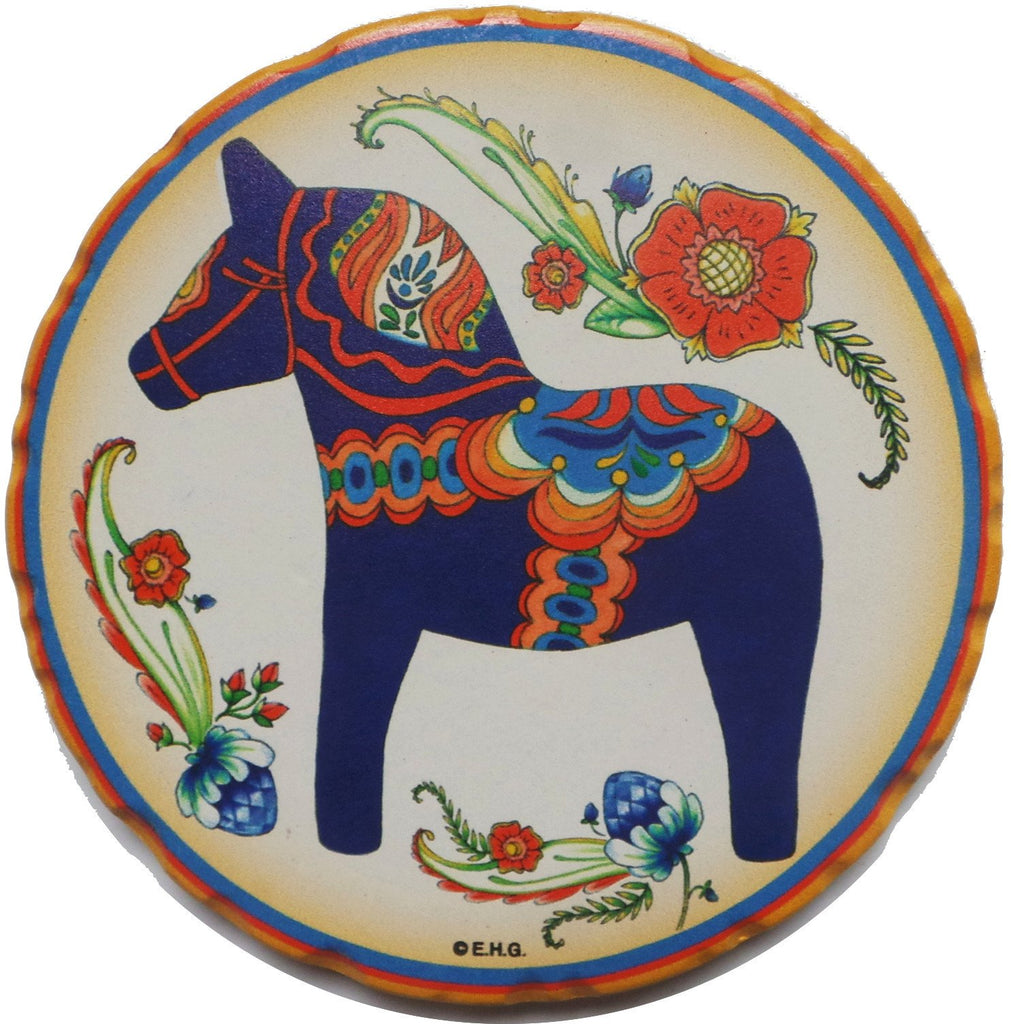 Blue Dala Horse Bevelled Coaster Set - Coasters, Dala Horse, Dala Horse Blue, New Products, NP Upload, Rosemaling, Swedish, Under $25, Yr-2016
