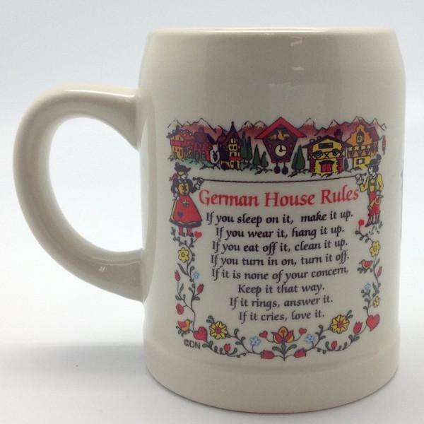 German Coffee Mug with  inchesGerman Haus Rules inches - Coffee Mugs, Coffee Mugs-German, Coffee Mugs-Stoneware, CT-500, Drinkware, Dutch, German, Germany, Home & Garden, Oma, opa, SY: House Rules-German, Tableware, Top-GRMN-B - 2 - 3 - 4
